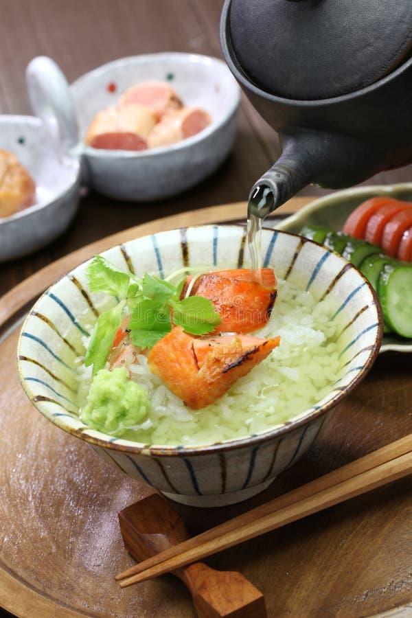 Ochazuke, thé vert au-dessus de riz, nourriture japonaise image libre de droits