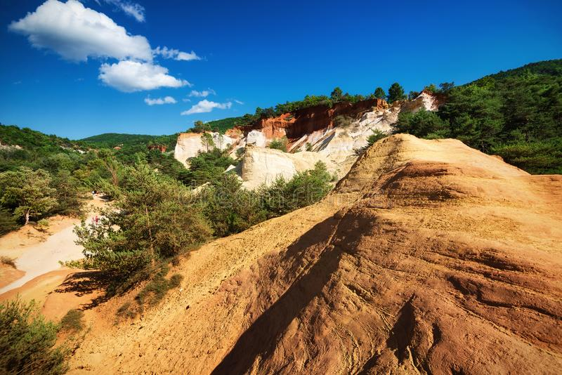 Ocher quarries. In Provence, France stock photography