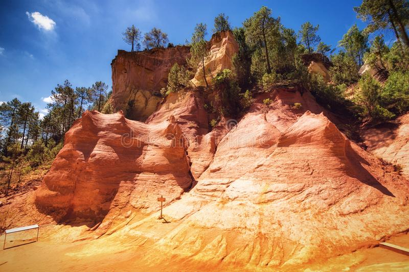 Ocher quarries. In Roussillon Provence, France royalty free stock photography
