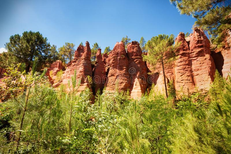 Ocher quarries. In Roussillon Provence, France royalty free stock photos