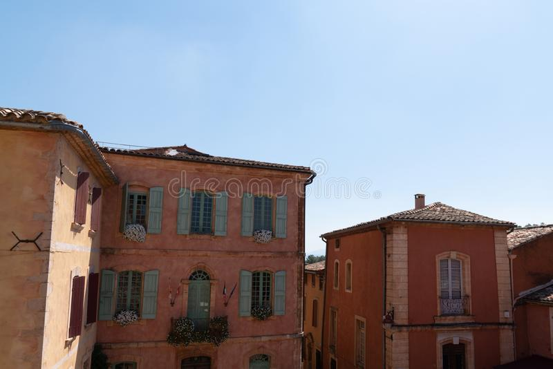 Ocher village of Roussillon home building Provence France stock image
