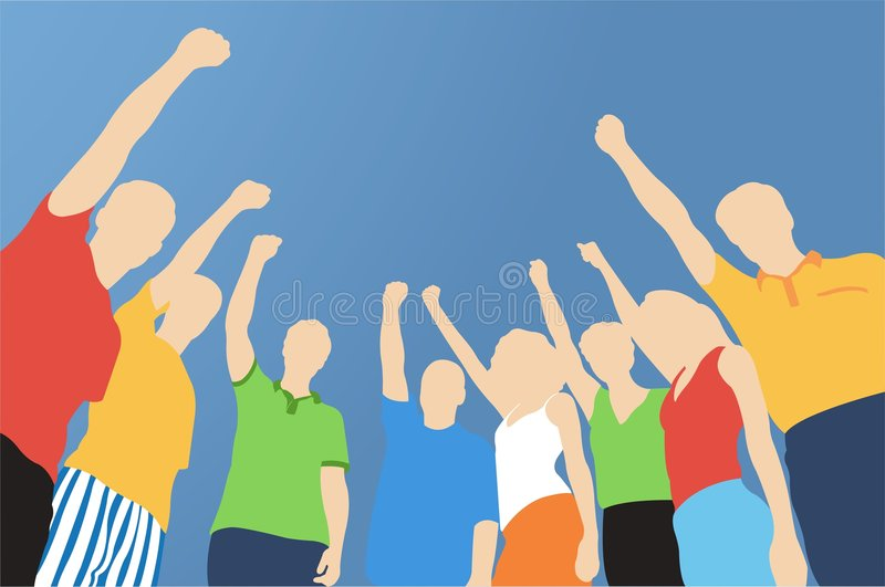 Ocho amigos con la mano para arriba stock de ilustración