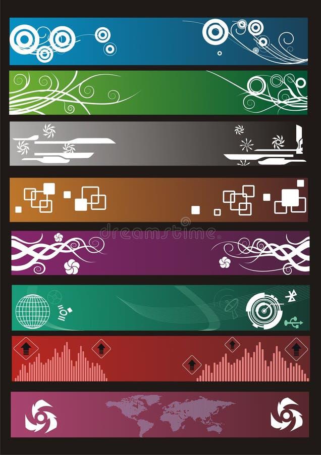 Ocho banderas ilustración del vector
