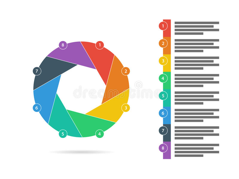 Ocho coloridos echaron a un lado vector infographic de la carta del diagrama del obturador de la presentación plana del rompecabe libre illustration