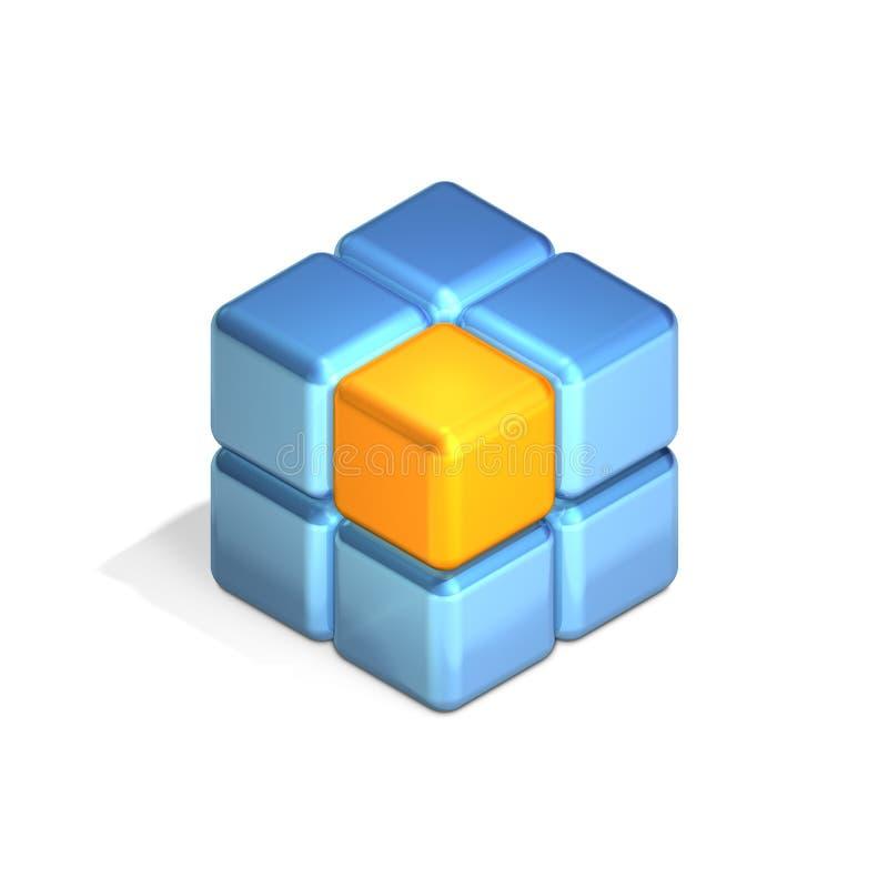 Ocho cubos, empilados cuatro sobre cuatro stock de ilustración
