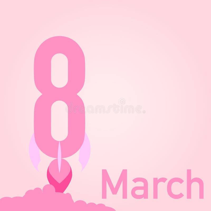ocho de la marcha que lanza en fondo rosado libre illustration