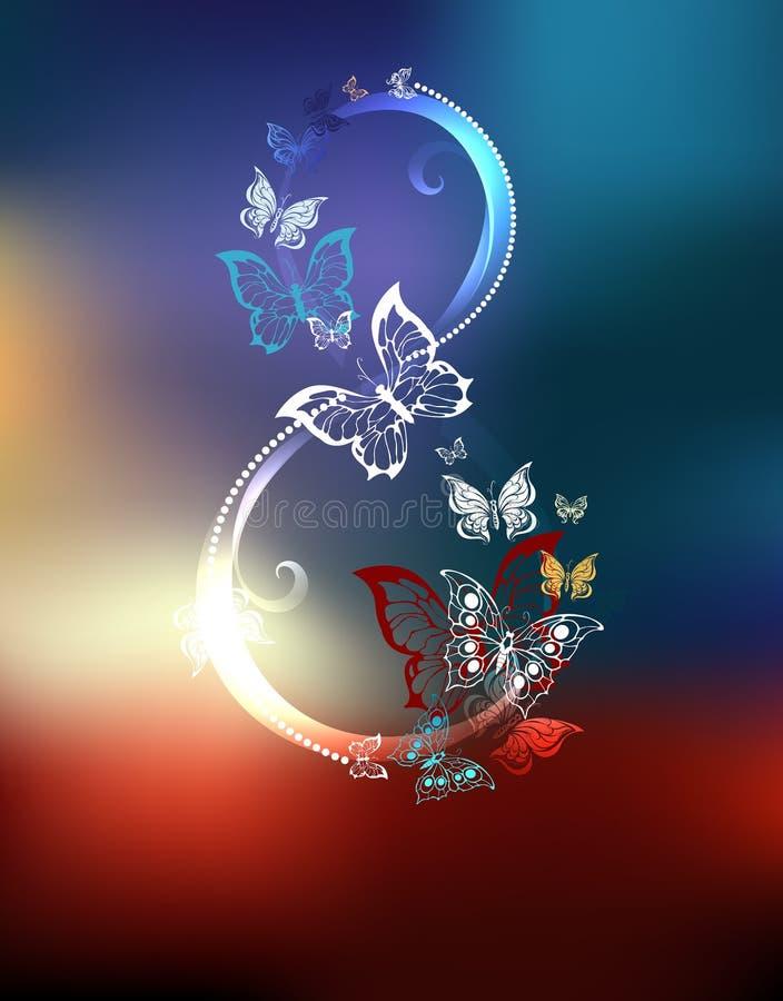 Ocho de las mariposas blancas ilustración del vector