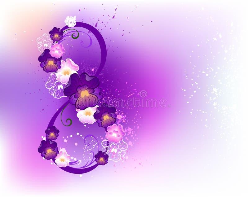 Ocho de violetas ilustración del vector