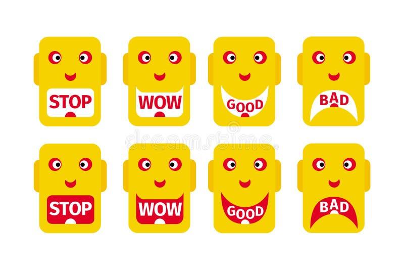 Ocho emoticons con las diversas emociones e inscripciones que corresponden a las emociones: Parada, wow, bueno, malo stock de ilustración