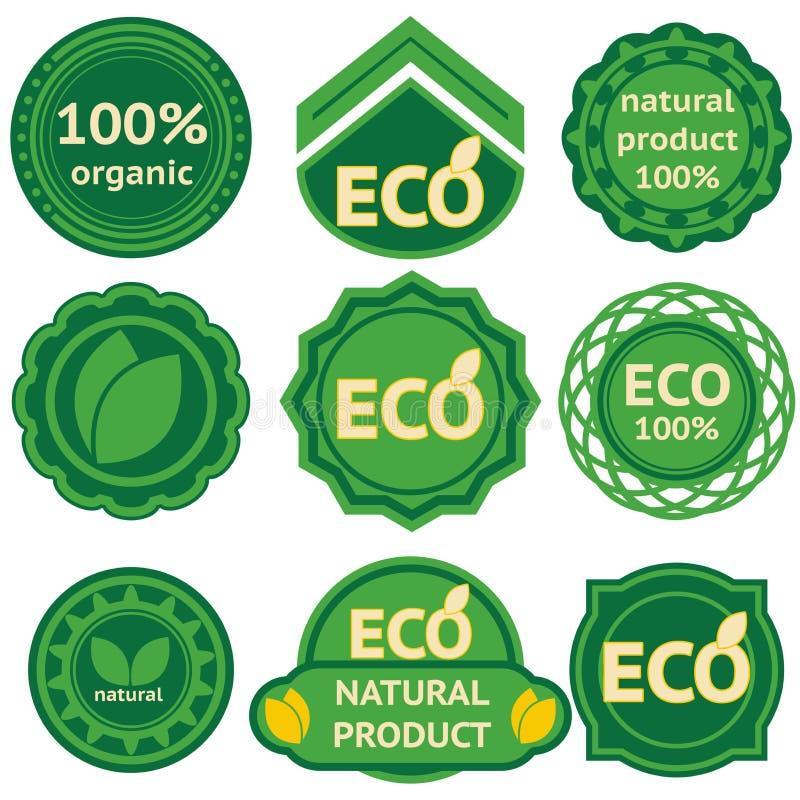 Ocho escrituras de la etiqueta verdes para los productos del eco libre illustration