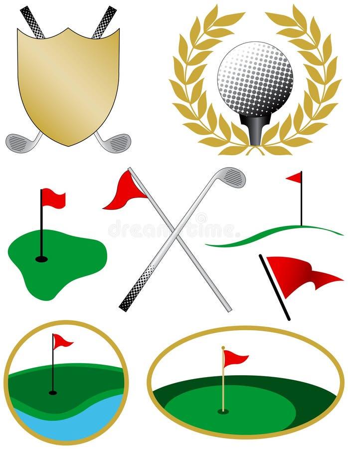Ocho iconos del golf del color stock de ilustración