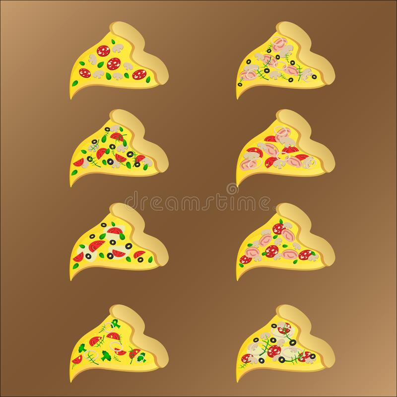 Ocho rebanadas de pizza vegeterian y de la carne con queso libre illustration