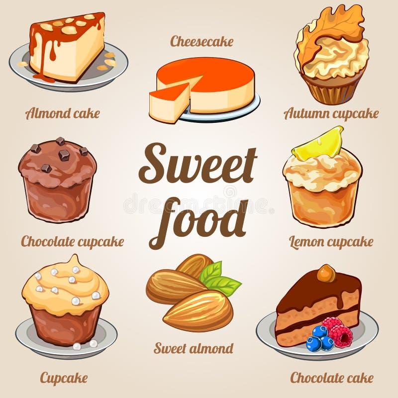 Ocho tortas y magdalenas deliciosas en un sistema ilustración del vector
