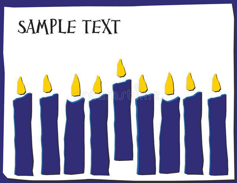 Ocho velas en los colores de Hannakuh con el sitio para el texto imagenes de archivo