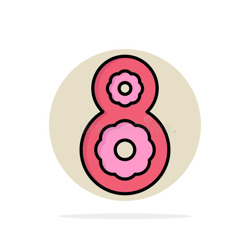 Ocho, 8vos, 8, icono plano del color de fondo del círculo del extracto de la flor ilustración del vector