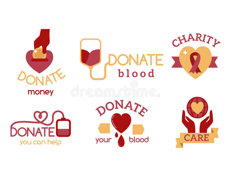 Ochotniczej czerwonej ikony dobroczynności darowizny świadomości ręki nadziei pomocy poparcia wektorowi ustaleni humanitarni symb ilustracji