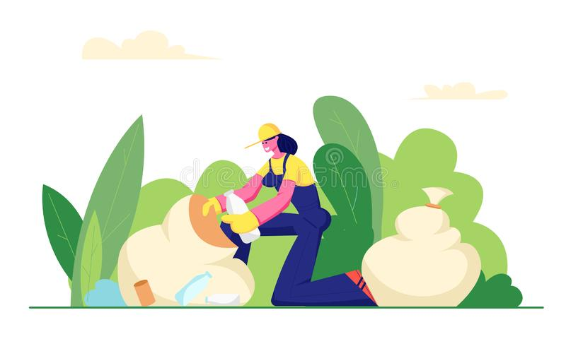 Ochotniczy Żeńskiego charakteru Czyści śmieci w miasto parka terenie Zgłaszać się na ochotnika, kobieta w Pracującym kontuszu kol ilustracji