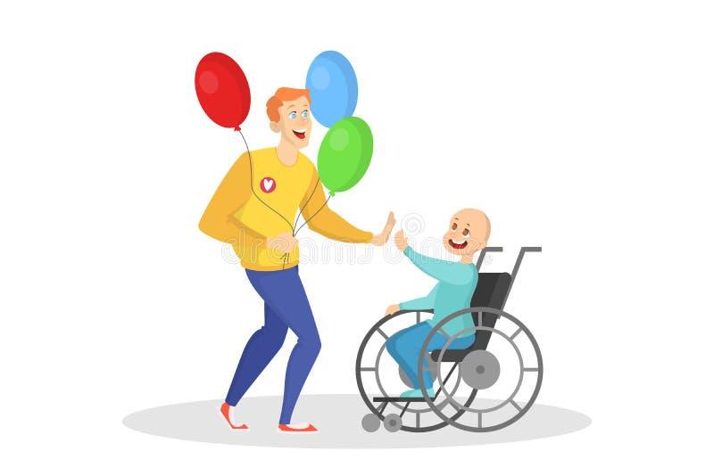 Ochotniczy bawić się z dzieckiem w wózku inwalidzkim royalty ilustracja