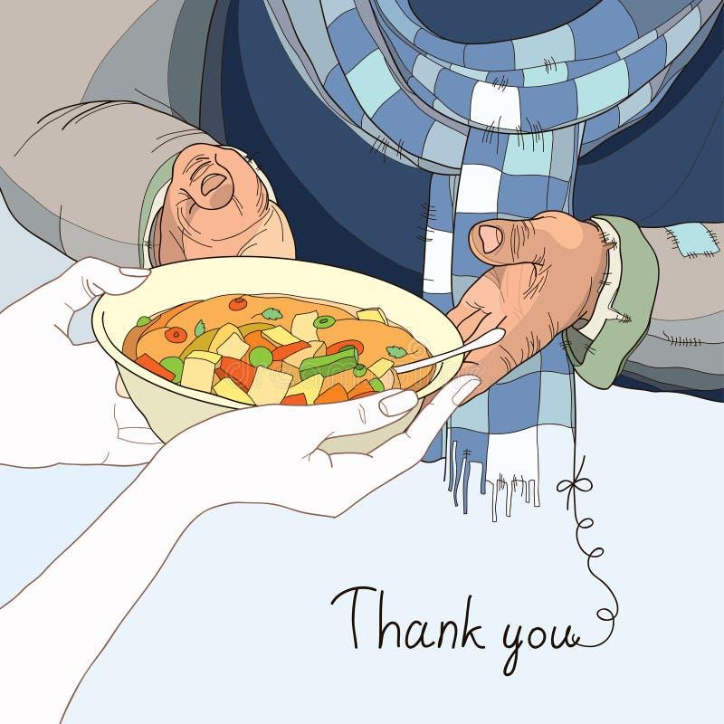 Ochotniczy daje talerz jedzenie bezdomny w przetartym odziewa ilustracja wektor