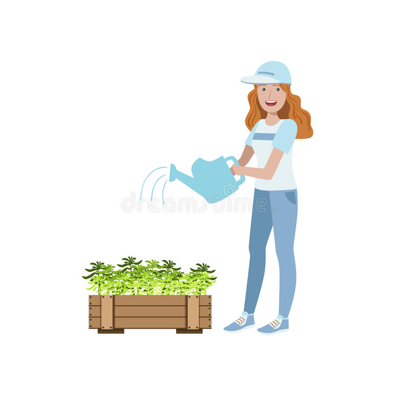 Ochotniczy podlewanie rośliny ilustracji