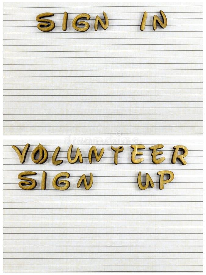 Ochotniczy podpisuje pustego prześcieradła pomoc up daje listom ilustracja wektor