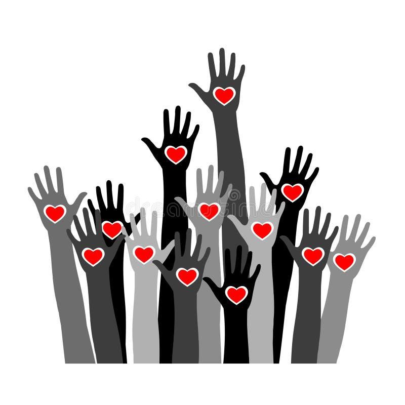 Ochotniczy pojęcie z rękami różni skór brzmienia z sercem w palmach ilustracja wektor