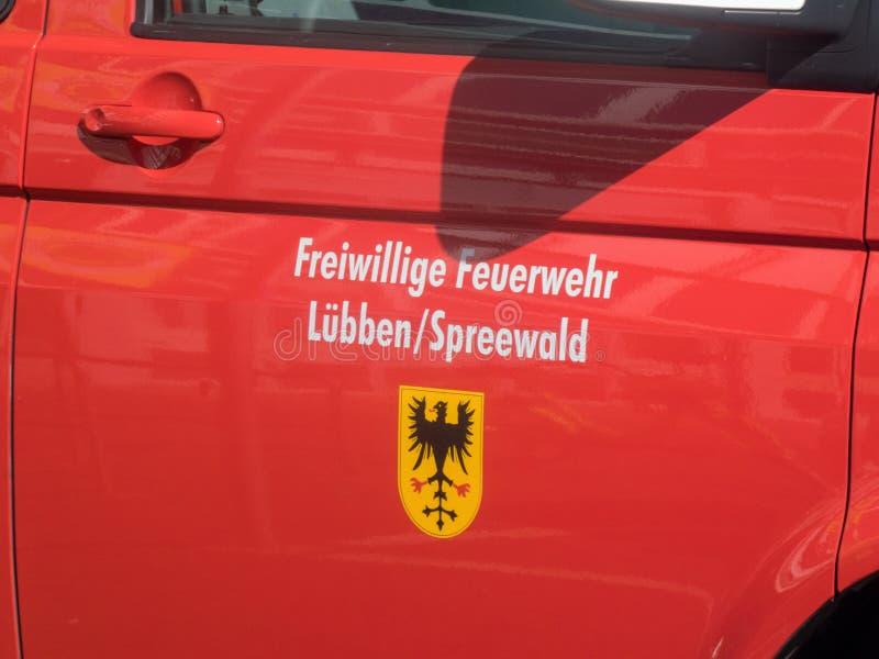 Ochotniczy strażak LÃ ¼ bben Spreewald, Brandenburg, Niemcy fotografia royalty free