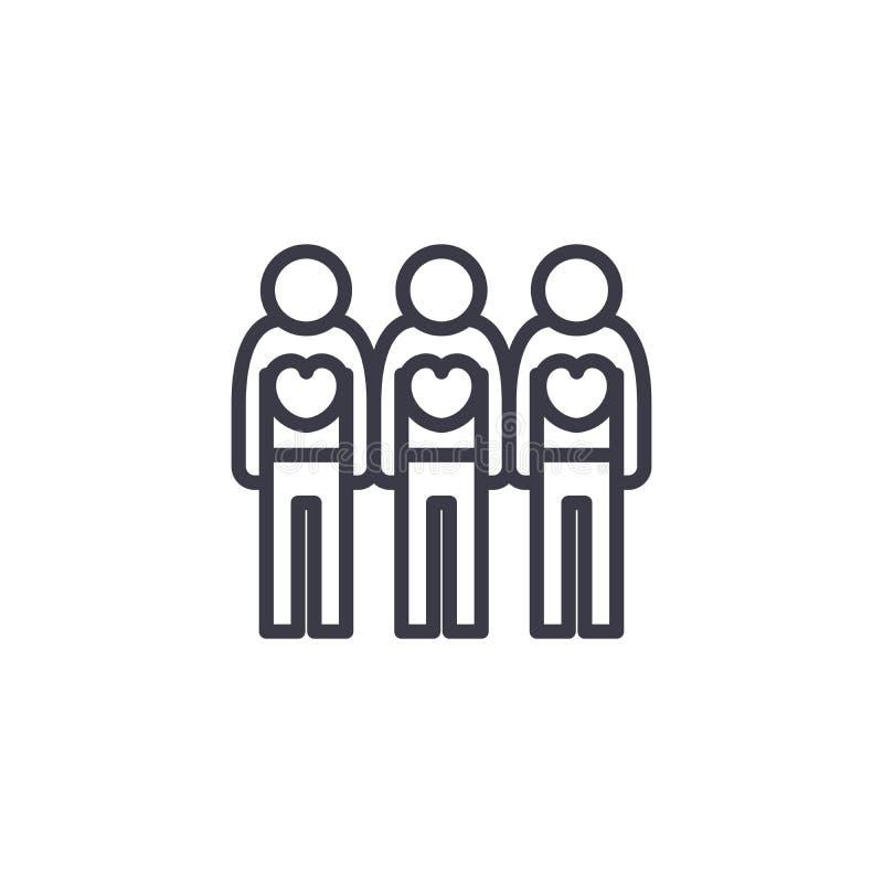 Ochotniczych pracowników ikony liniowy pojęcie Ochotniczych pracowników wektoru kreskowy znak, symbol, ilustracja royalty ilustracja