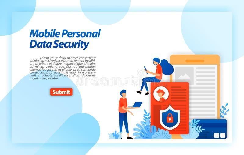 Ochrania osobistych dane mobilny użytkownik zapobiegać siekać i niewłaściwe używanie cyber przestępstwo Kędziorek i bezpieczni in ilustracji