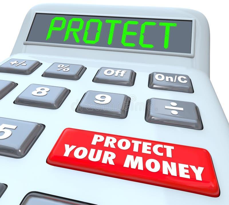 Ochrania Twój pieniądze kalkulatora Inwestorskiego podatku schronienie ilustracji