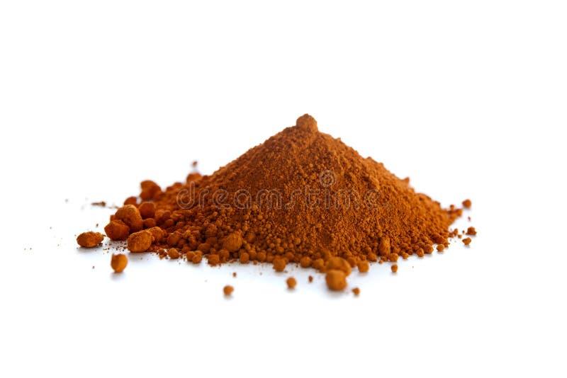Ochre, a natural earth pigment. Ochre, also spelled ocher, a natural yellow earth pigment based on hydrated iron oxide stock photo