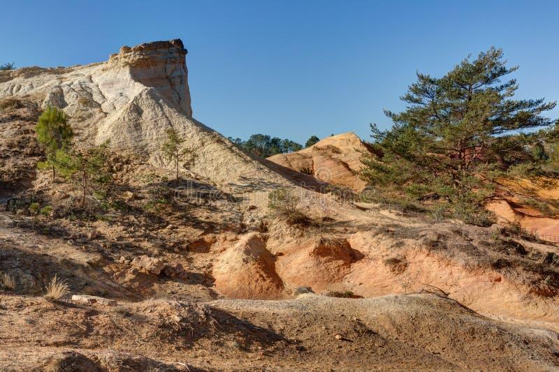 Ochres of Colorado Provencal - Rustrel - Provence - France. Ochre quarries of the Colorado Provencal in Rustrel - Vaucluse - Provence - France royalty free stock photography