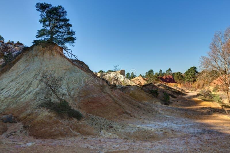 Ochres of Colorado Provencal - Rustrel - Provence - France. Ochre quarries of the Colorado Provencal in Rustrel - Vaucluse - Provence - France stock photo