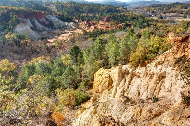 Ochres of Colorado Provencal - Rustrel - Provence - France. Ochre quarries of the Colorado Provencal in Rustrel - Vaucluse - Provence - France stock image
