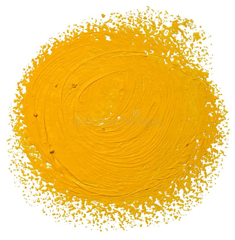 Ochre round strokes of the hand draen paint brush. Isolated on a white, EPS10 vector illustration royalty free stock photo