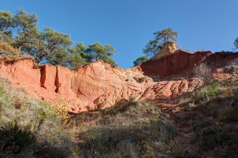 Ochres of Colorado Provencal - Rustrel - Provence - France. Ochre quarries of the Colorado Provencal in Rustrel - Vaucluse - Provence - France stock photography