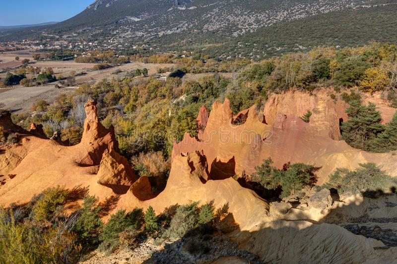 Ochres of Colorado Provencal - Rustrel - Provence - France. Ochre quarries of the Colorado Provencal in Rustrel - Vaucluse - Provence - France stock images