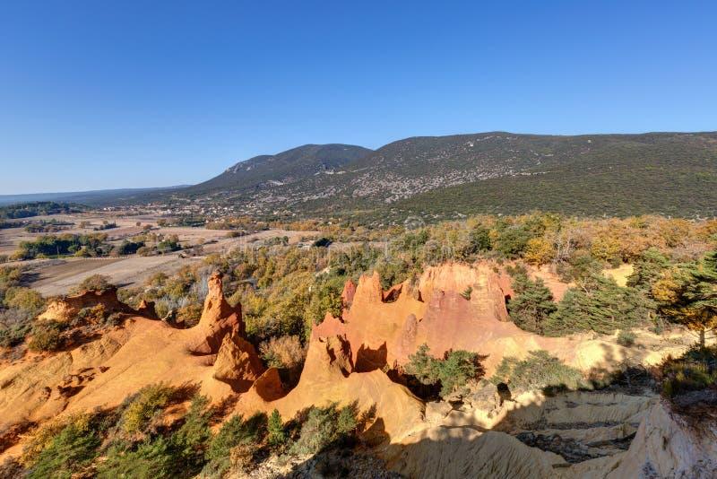 Ochres of Colorado Provencal - Rustrel - Provence - France. Ochre quarries of the Colorado Provencal in Rustrel - Vaucluse - Provence - France royalty free stock image
