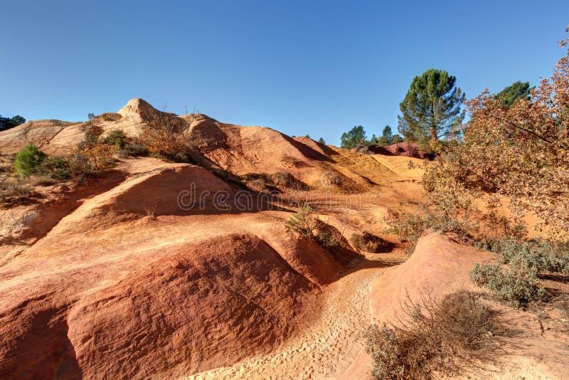 Ochres of Colorado Provencal - Rustrel - Provence - France. Ochre quarries of the Colorado Provencal in Rustrel - Vaucluse - Provence - France royalty free stock images