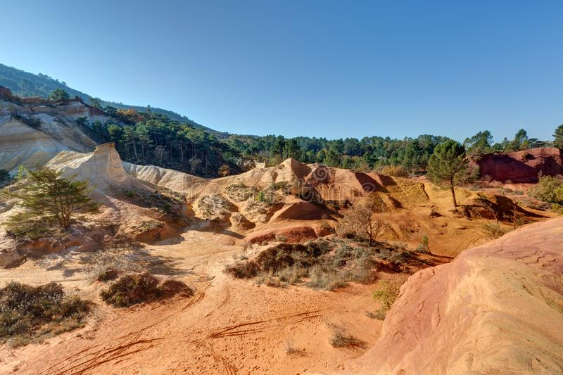 Ochres of Colorado Provencal - Rustrel - Provence - France. Ochre quarries of the Colorado Provencal in Rustrel - Vaucluse - Provence - France royalty free stock photos