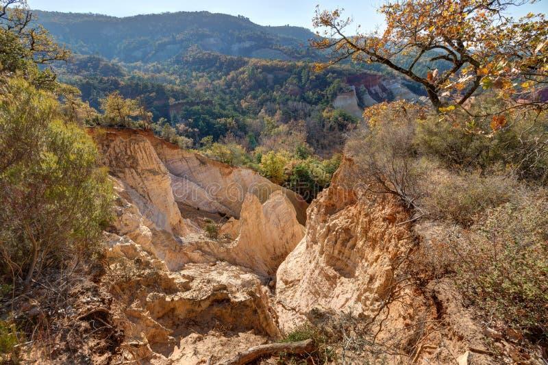Ochres of Colorado Provencal - Rustrel - Provence - France. Ochre quarries of the Colorado Provencal in Rustrel - Vaucluse - Provence - France royalty free stock photo