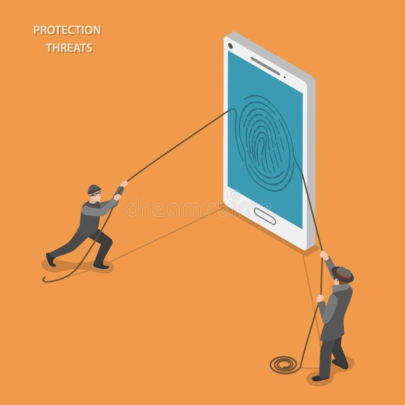 Ochron zagrożeń isometric płaski wektorowy pojęcie royalty ilustracja