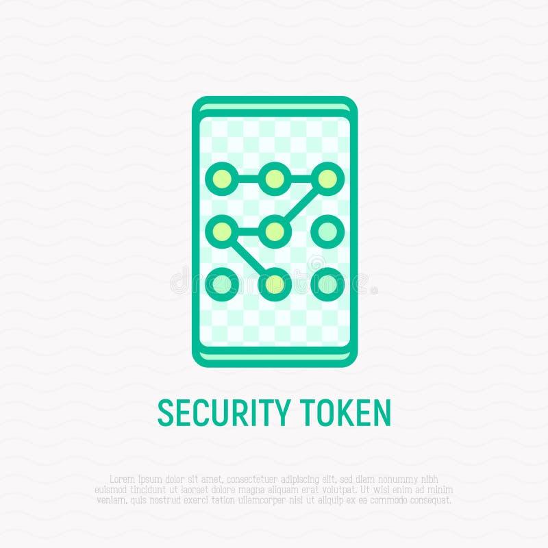 Ochrona żeton, grafika klucz na smartphone ikonie ilustracja wektor