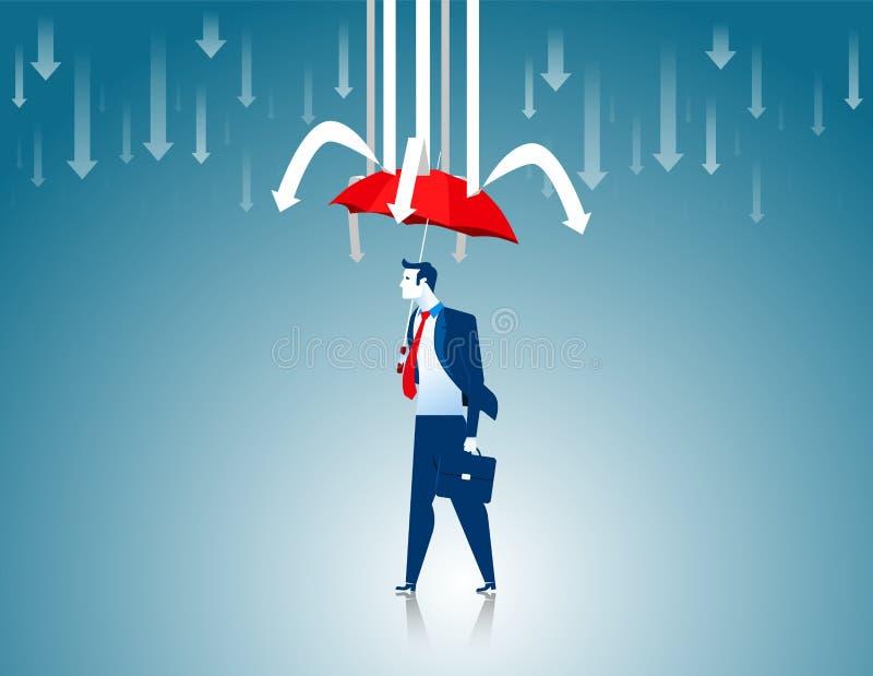 Ochrona Biznesmena czerwony parasol zapobiegać strzała ilustracja wektor