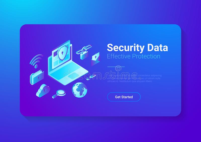 Ochrona dane ochrony Antivirus laptopu chmura jest royalty ilustracja