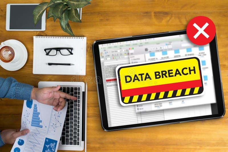 Ochrona dane pogwałcenia komputerowej ochrony Poufny cyberprzestępstwo zdjęcia stock
