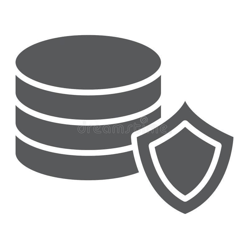 Ochrona danych glifu ikona, prywatność i ochrona, serwer ochrony znak, wektorowe grafika, bryła wzór na bielu royalty ilustracja