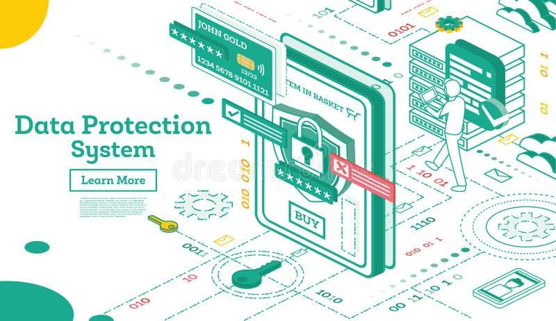 Ochrona Danych system Isometric Cyber prywatność i ochrona Ruchu drogowego utajnianie VPN royalty ilustracja