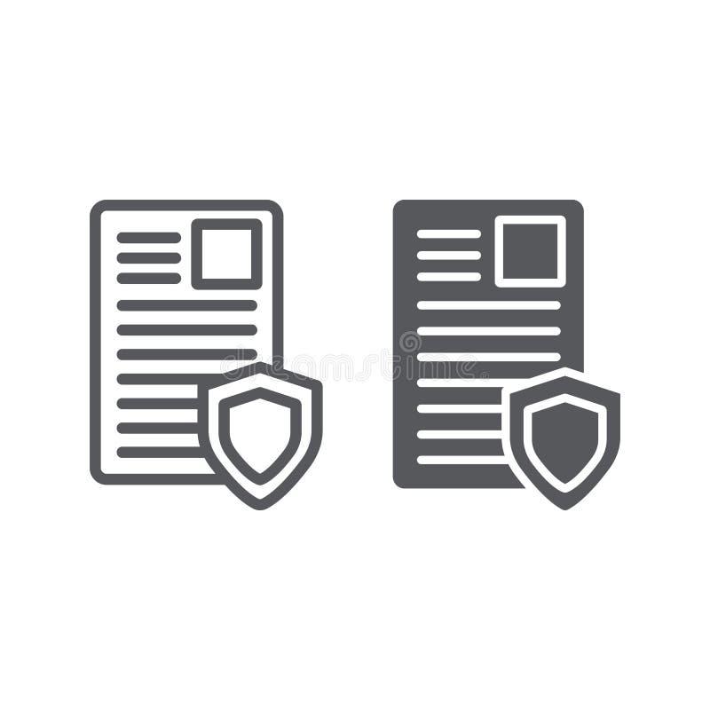 Ochrona dokumentu linia, glif ikona, prywatno?? i papier, lista z os?ona znakiem, wektorowe grafika, liniowy wz?r na a royalty ilustracja