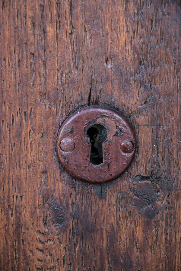 Ochrona kędziorek dla starego drewnianego drzwi w ogródzie zdjęcia stock